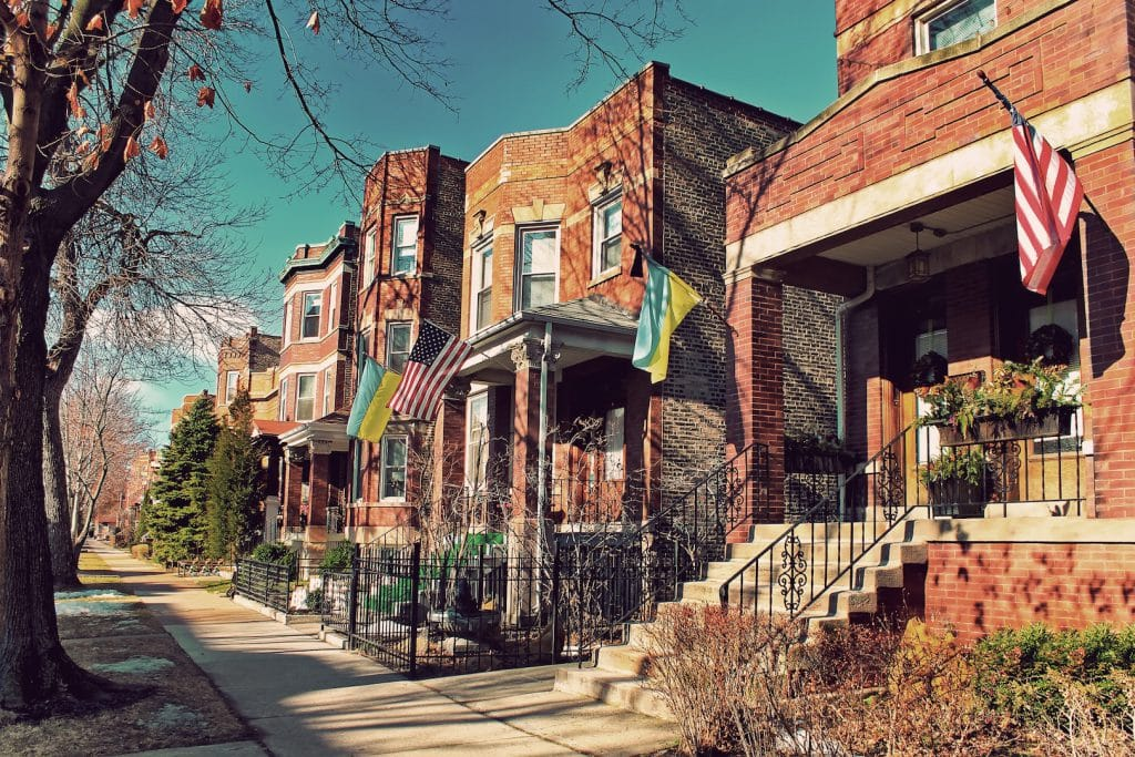 A Row of homes in Chicago's Bucktown neighborhood
