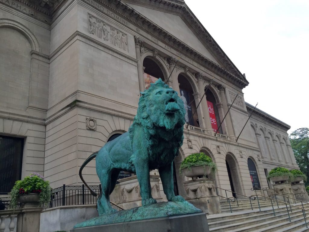 The entrance to the Art Institute of Chicago.
